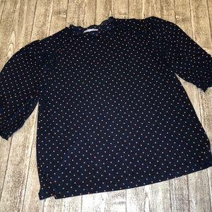 Zara Ruffle Polka Dot Blouse, Size Large.